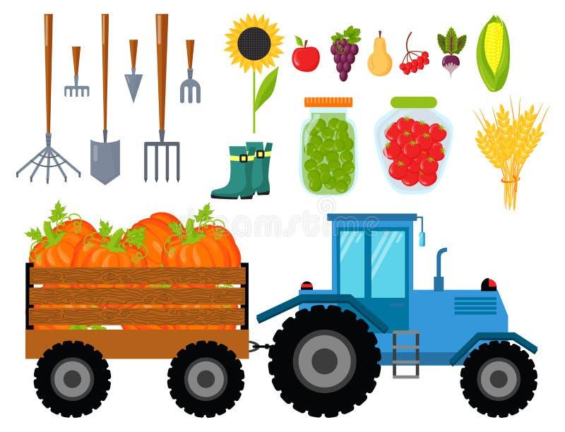 导航农业和园艺的收获平的象收获机具,健康自然果子和手工具 向量例证