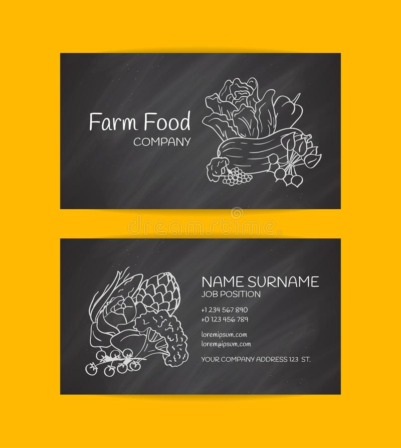 导航农厂市场或素食主义者有机食品公司的手拉的乱画菜象名片模板.图片