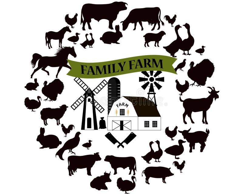导航农场和农厂象和设计元素 牲口汇集 向量例证