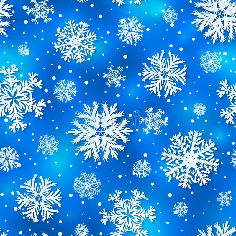 导航冬天无缝的样式,与3D纸被删去的雪花的背景 皇族释放例证