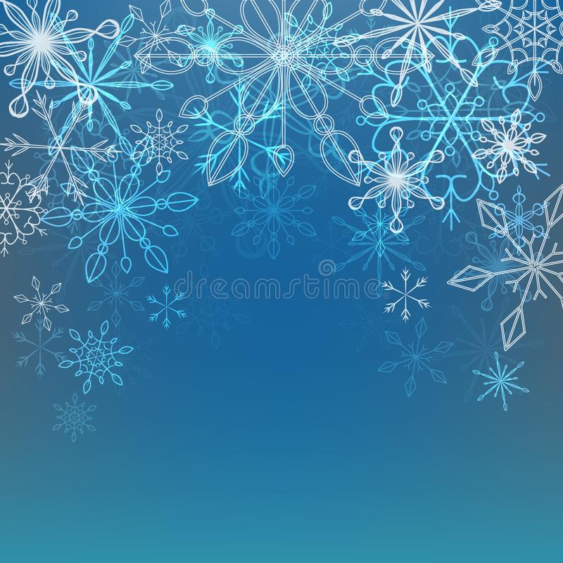 导航冬天背景的例证与雪花的 向量例证