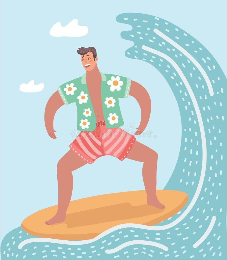 导航冲浪在海洋的人的例证 向量例证