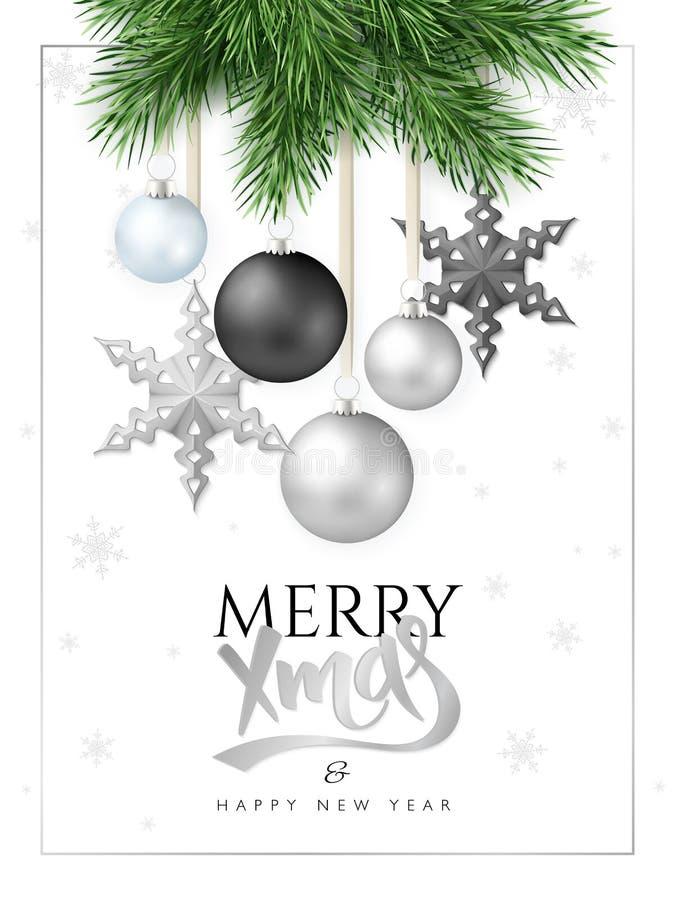 导航冷杉木分支的例证与垂悬的圣诞节装饰品和星和招呼手字法标签的 库存例证