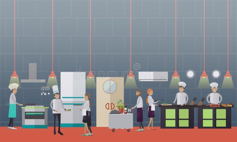 导航准备在平的样式的厨师的例证食物 向量例证