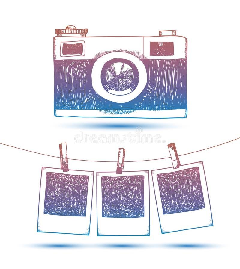 导航减速火箭的照片框架和照相机的手拉的乱画例证 库存例证