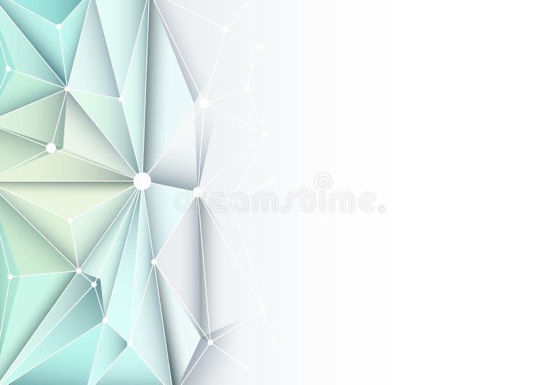 导航几何未来派技术的摘要3D,多角形 向量例证
