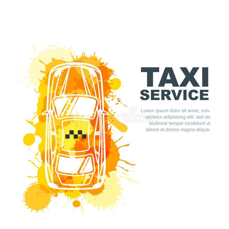 导航出租汽车服务横幅,飞行物,海报设计模板 电话出租汽车概念 出租汽车黄色水彩被绘的小室 皇族释放例证