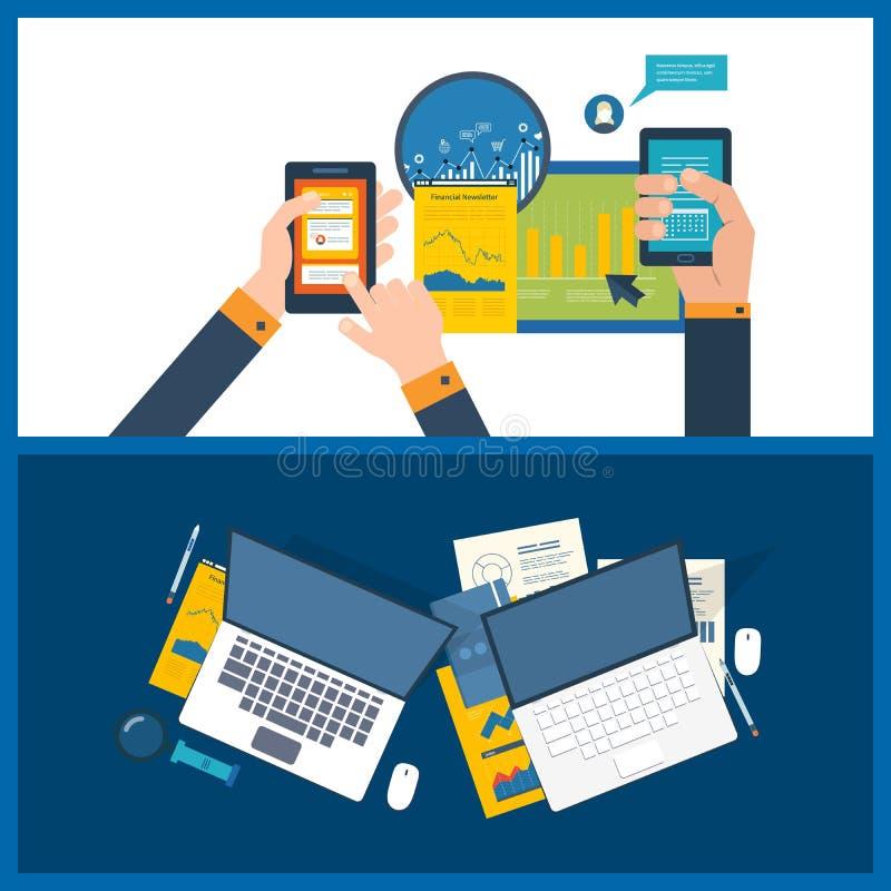 导航分析项目的例证概念,财政报告,市场研究 库存例证