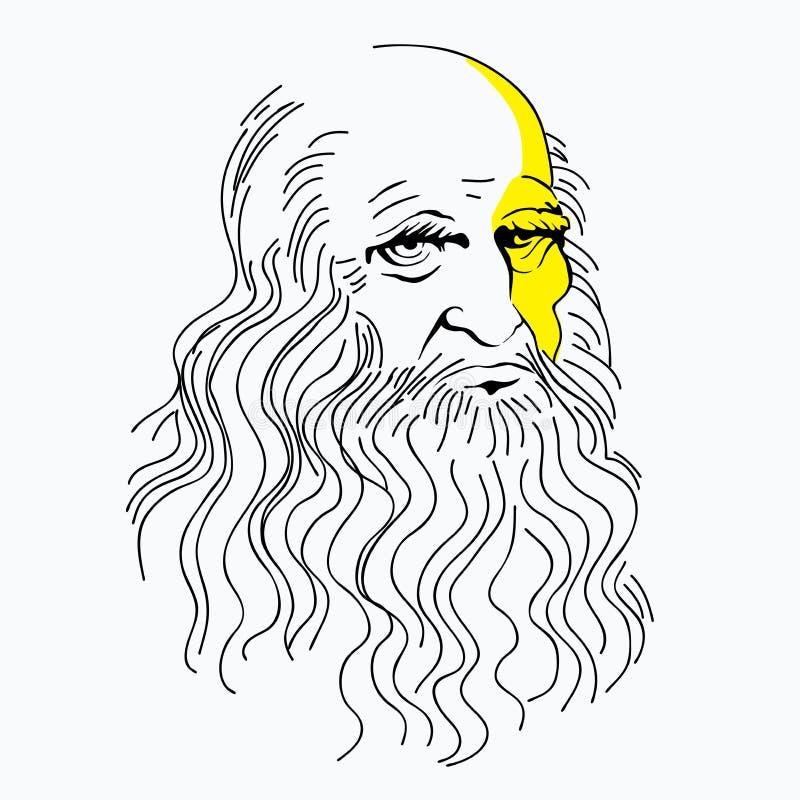 导航列奥纳多・达・芬奇,线性样式,标志,天才例证画象  库存例证