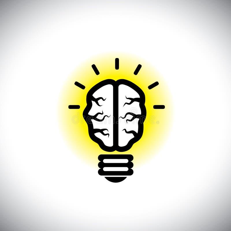 导航创造性,有创造力的脑子象当想法电灯泡 向量例证