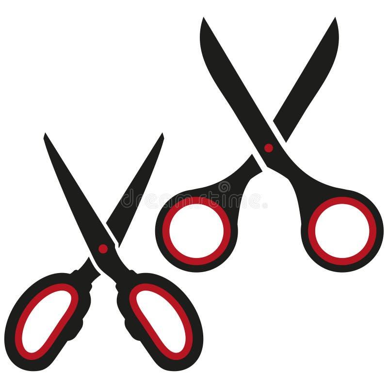 导航剪刀象,头发裁减标签,切开的剪刀,理发师标志象,在白色背景,黑剪刀商标的插队 皇族释放例证
