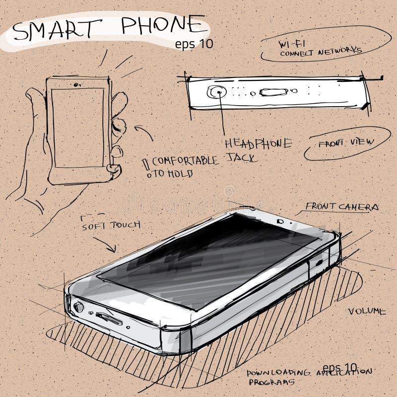 导航剪影例证-有触摸屏幕显示的智能手机 皇族释放例证