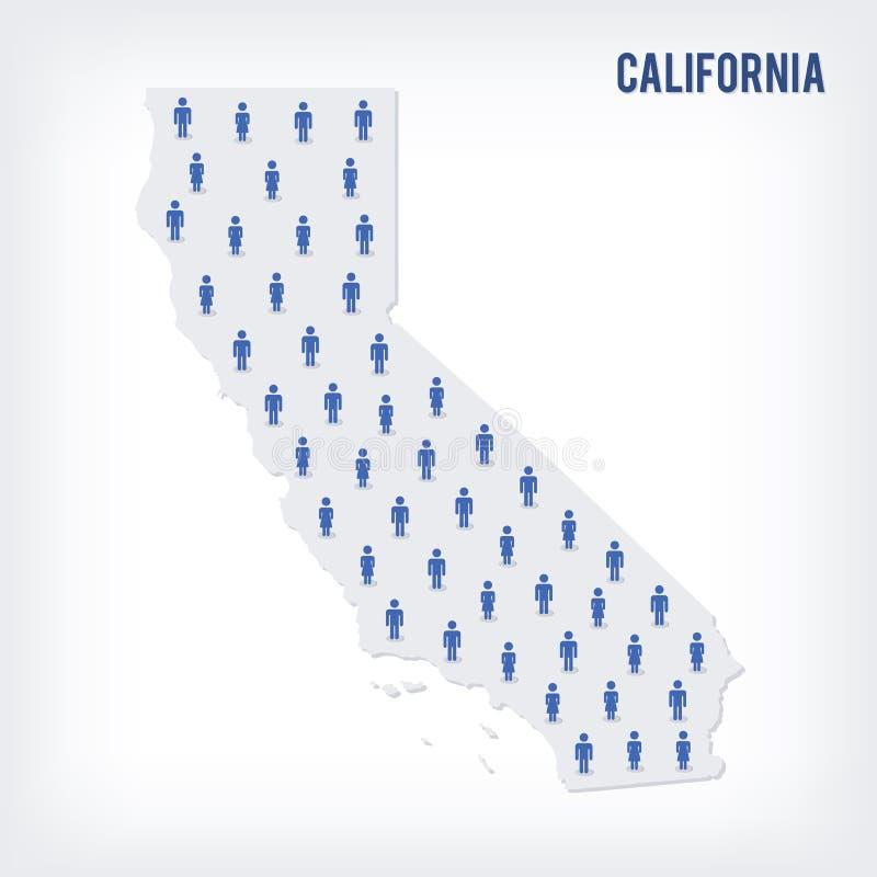 导航加利福尼亚州人地图  人口的概念 皇族释放例证