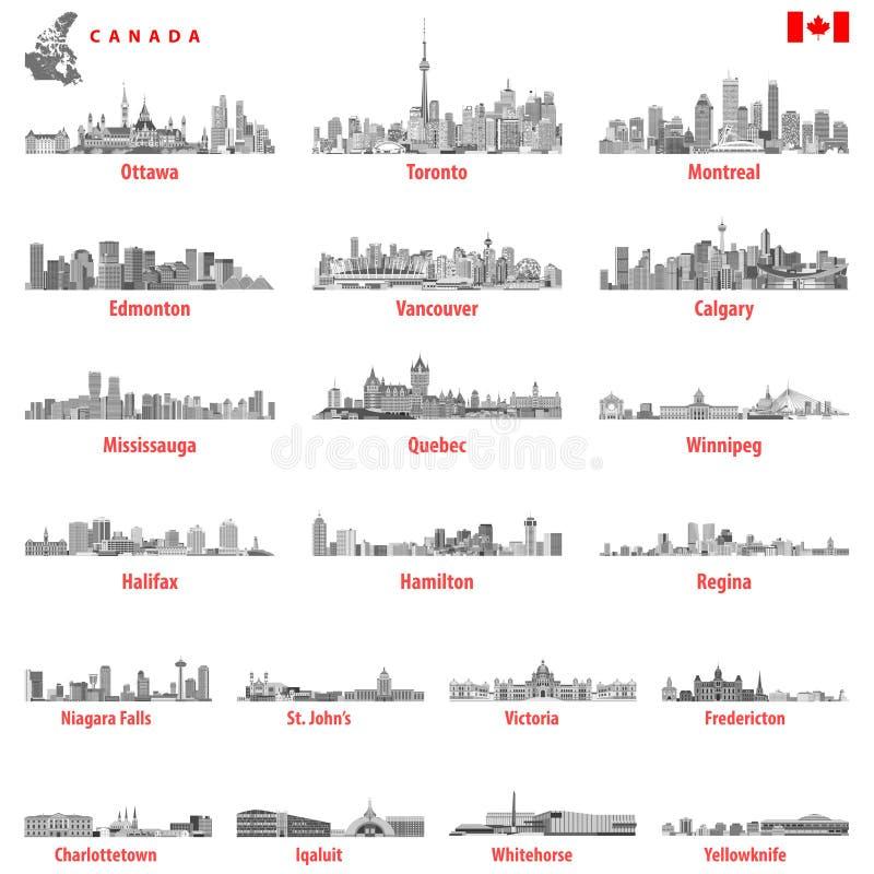 导航加拿大城市地平线的例证在黑白色彩色板显示的 向量例证