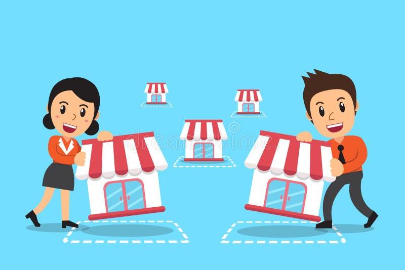 导航动画片商人和女实业家有特权企业概念的 库存例证