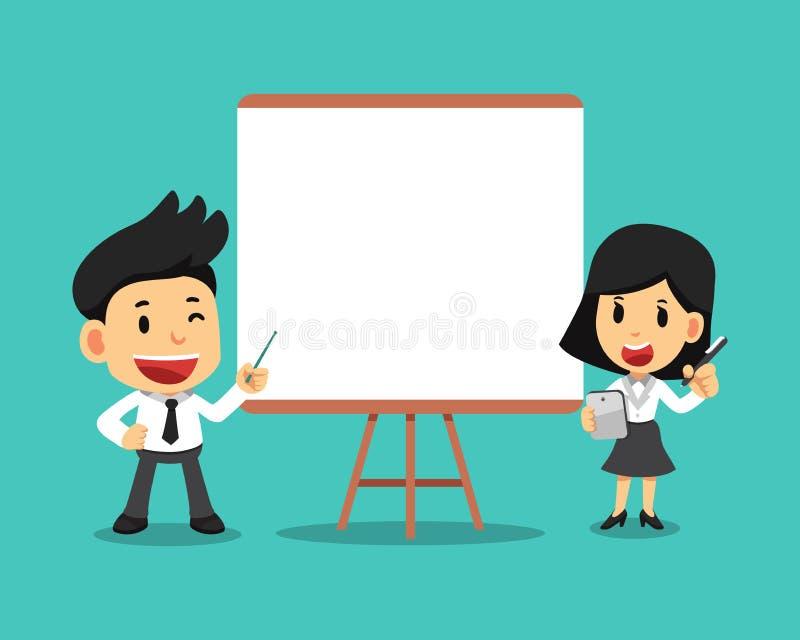 导航动画片商人和女实业家有空白的白板的 皇族释放例证