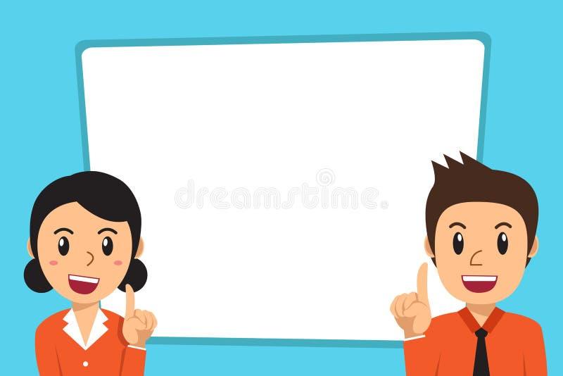 导航动画片商人和女实业家有空白的白色横幅的 向量例证