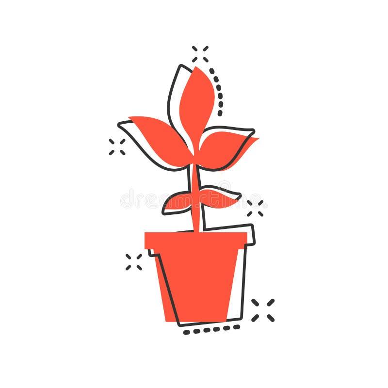 导航动画片在可笑的样式的花盆象 幼木花c 向量例证