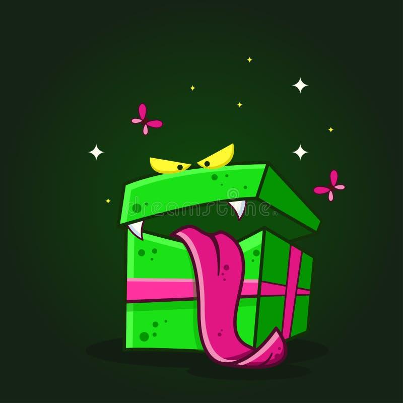 导航动画片妖怪有牙和舌头的礼物盒的彩色插图在黑暗的背景 皇族释放例证