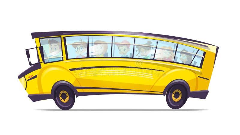 导航动画片学校黄色孩子的卡车公共汽车 库存例证