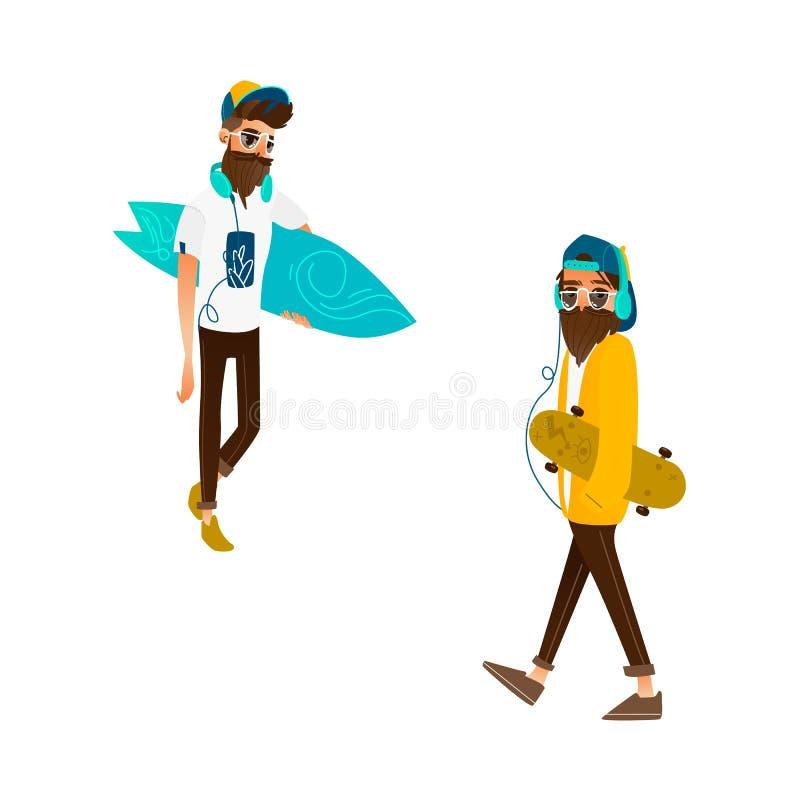 导航动画片拿着海浪,冰鞋集合的行家人 库存例证