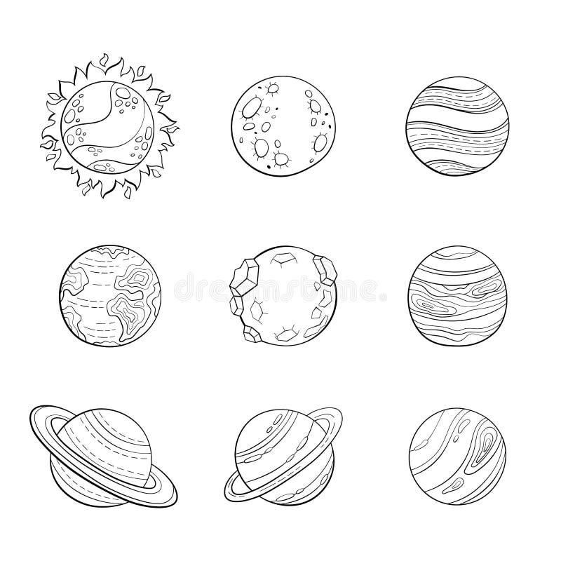 导航动画片行星,教育成人antistress着色页的空间例证 库存例证