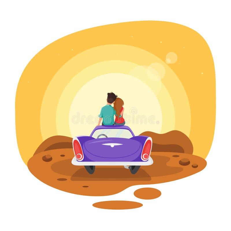 导航动画片爱恋的夫妇的样式例证坐汽车 向量例证