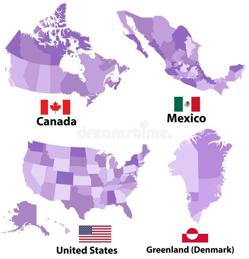 导航北美国家地图和旗子有管理部门地区边界的 库存例证