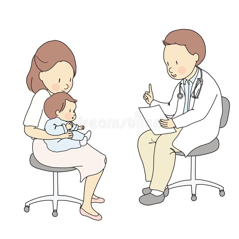 导航医生的例证坐椅子凳子和谈话与母亲和婴孩 医疗的孩子,儿科医生,育儿 向量例证