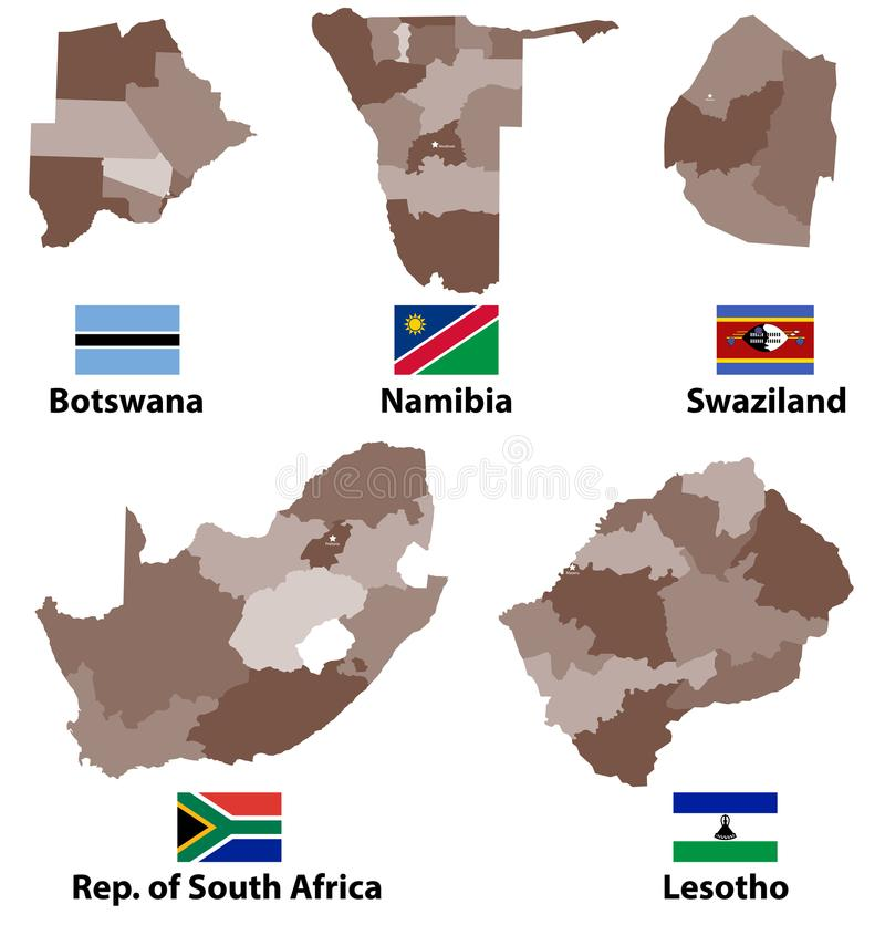 导航南部非洲国家地图和旗子有管理部门地区边界的 皇族释放例证