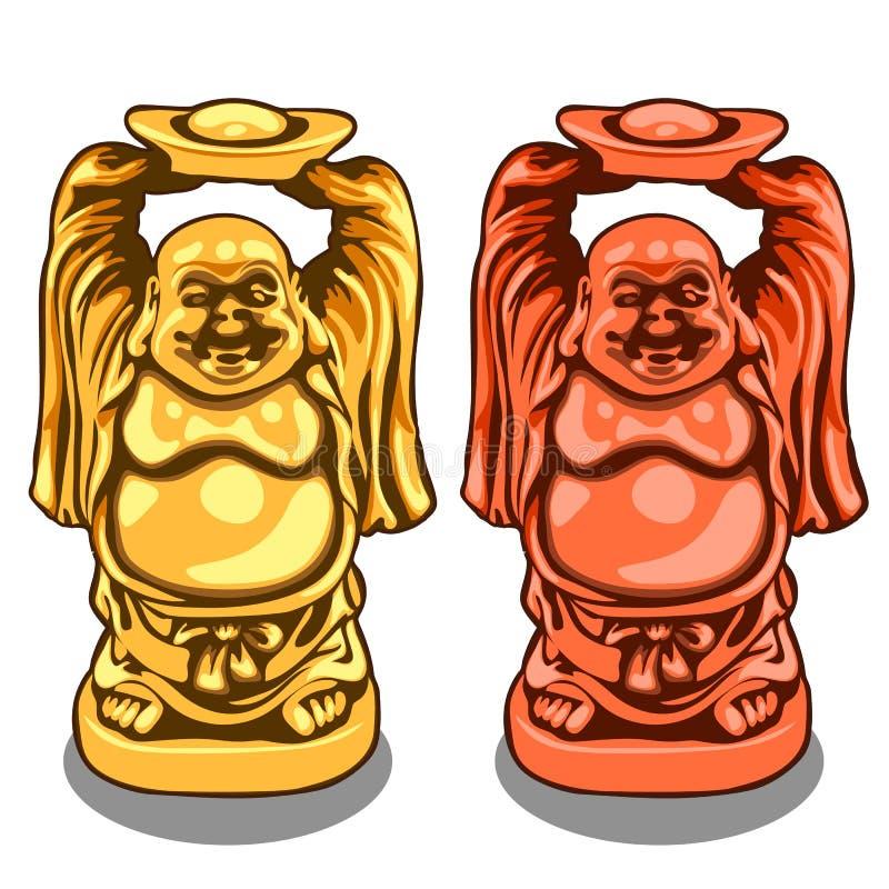 导航印地安神金和古铜色形象  向量例证