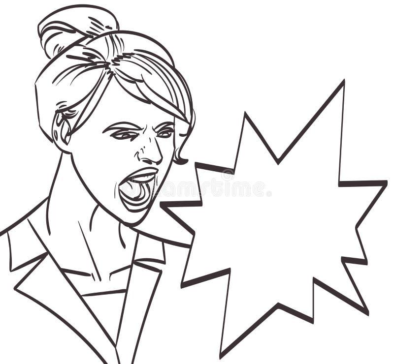 导航叫喊的妇女, lineart艺术被隔绝的eps 10 库存例证