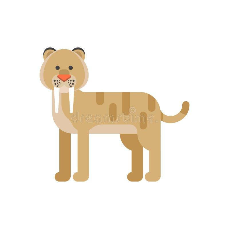 导航史前动物-剑齿虎的平的样式例证 向量例证