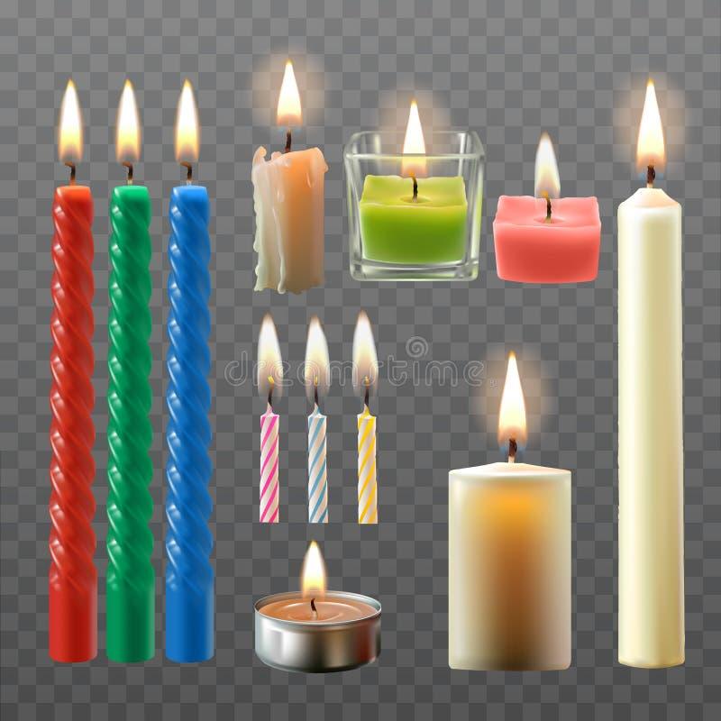 导航各种各样的蜡烛的一汇集的例证在一个现实样式的 库存例证
