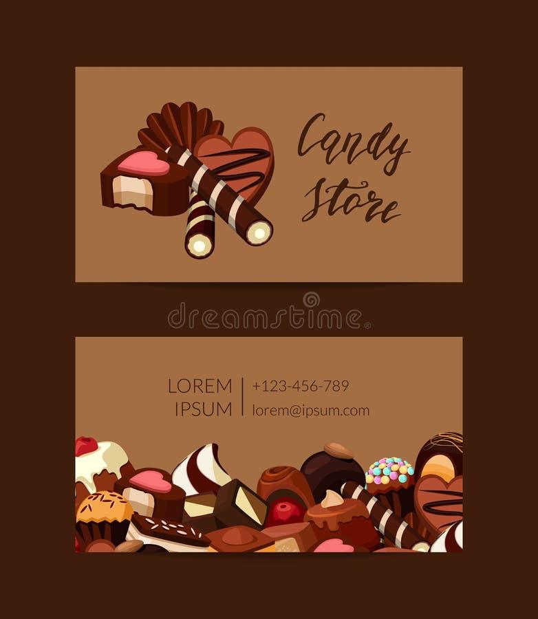 导航名片模板用动画片面包点心店的巧克力糖 库存例证
