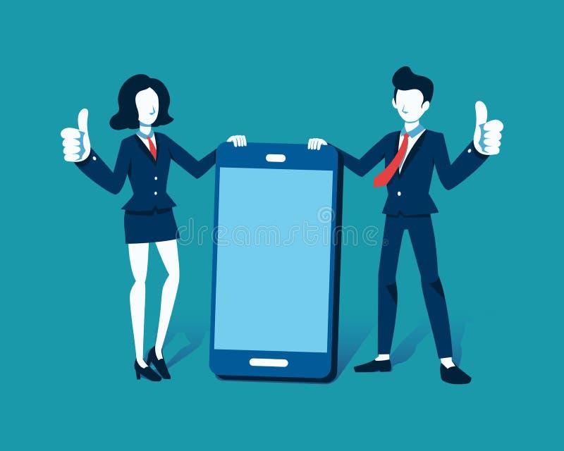 导航商人和女实业家的例证有大智能手机的 库存例证