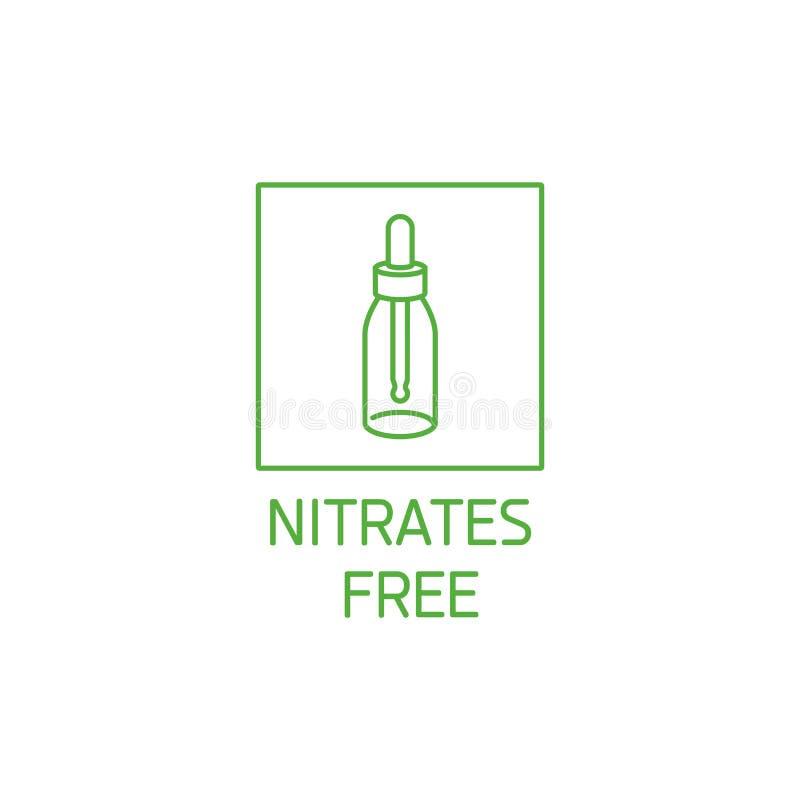 导航商标、徽章和象自然和有机产品的 硝化处理自由标志设计 保健品的标志 库存例证