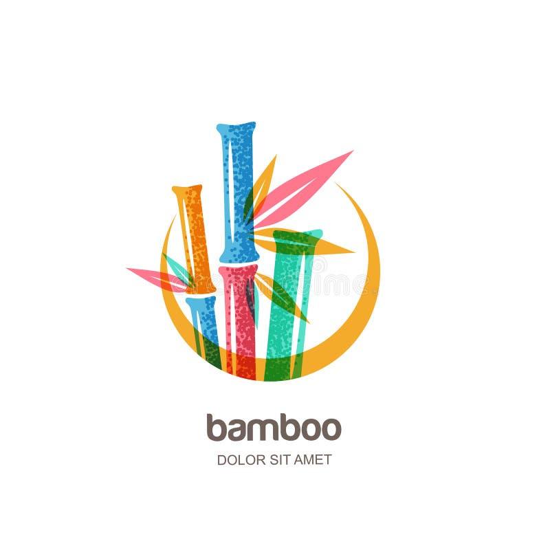导航商标象或象征与多色创造性的竹植物 温泉和美容院的,按摩,化妆用品概念 向量例证