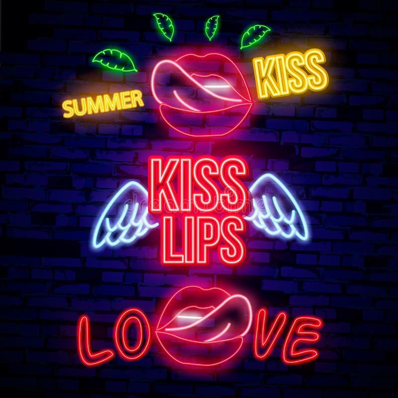 导航嘴唇的现实被隔绝的霓虹减速火箭的标志在墙壁背景的装饰和覆盖物的 概念  向量例证
