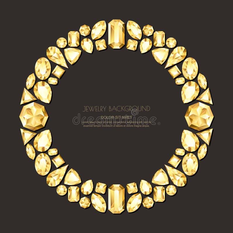 导航围绕从现实金黄宝石和珠宝的框架在黑背景 发光的金刚石首饰设计元素 皇族释放例证