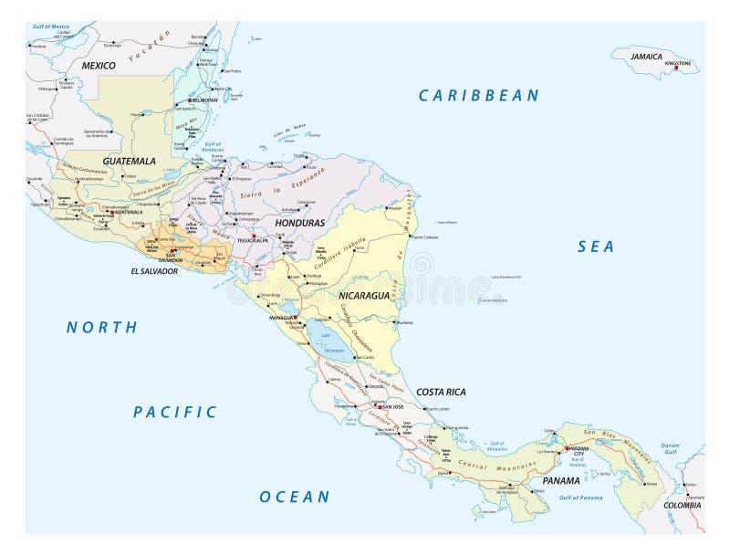 导航国家的街道地图的中美洲 皇族释放例证