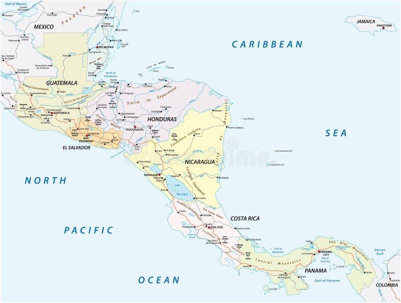 导航国家的路线图的中美洲 向量例证