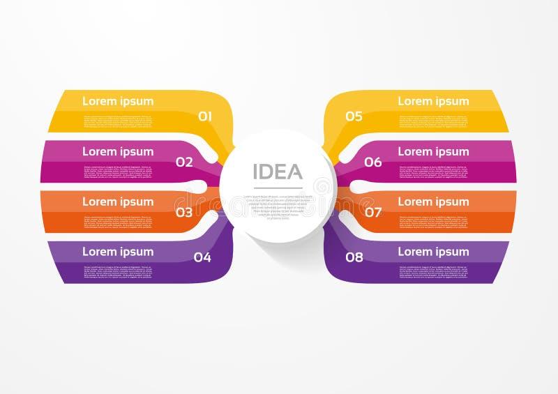 导航图、图表、介绍和图的infographic模板 与8个选择、部分、步或者过程的企业概念 向量例证