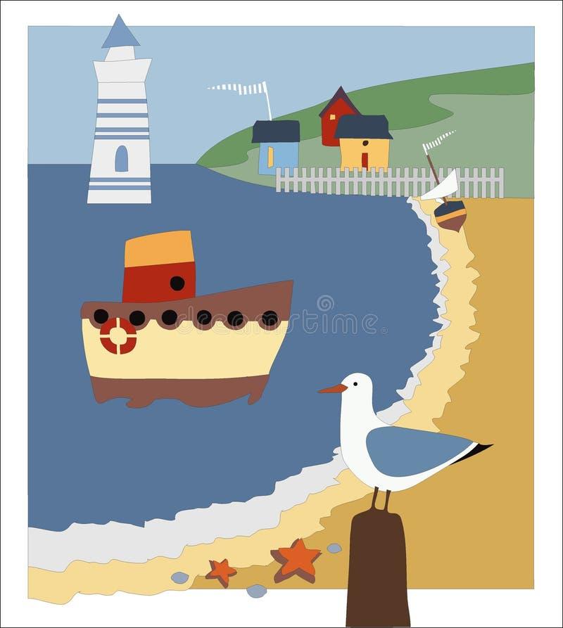 导航图片海滨、灯塔、小船和鸥 图库摄影