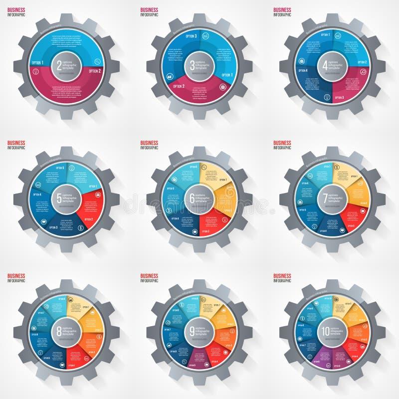 导航图表、图、图和其他infographics的企业和产业齿轮样式圈子infographic模板 向量例证