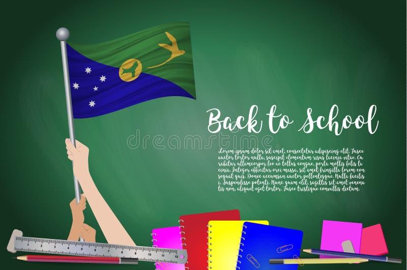 导航圣诞岛旗子黑黑板背景的 与手阻止的教育背景圣诞岛fla 皇族释放例证