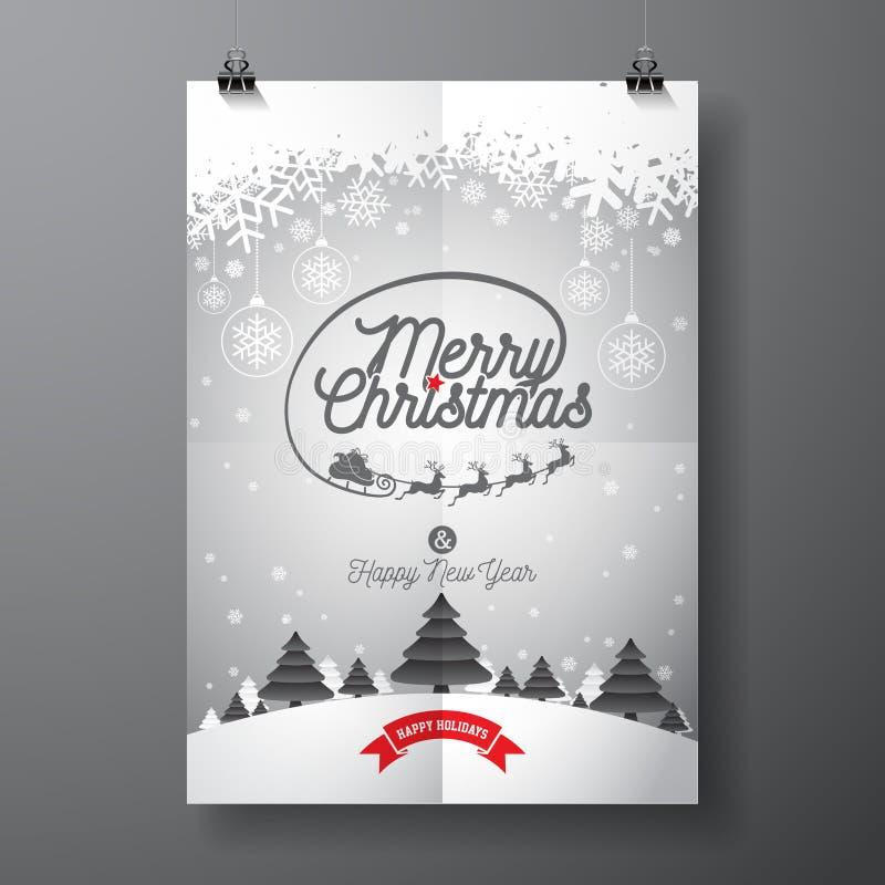 导航圣诞快乐与印刷设计和雪花的假日和新年快乐例证在冬天风景backgrou 皇族释放例证