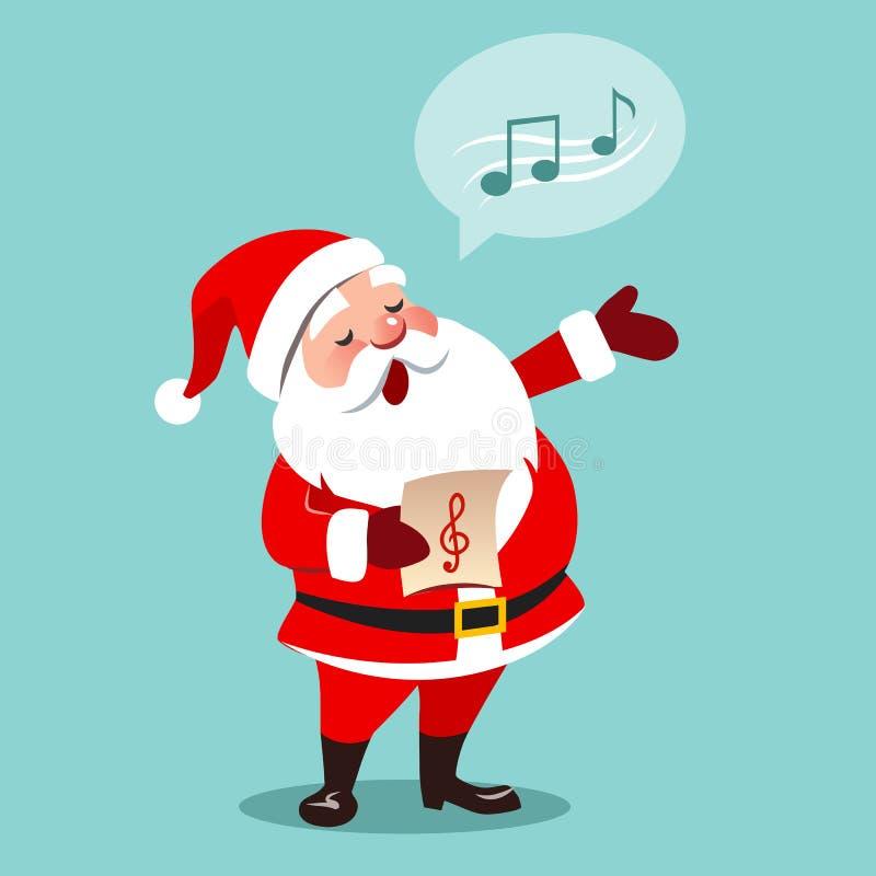 导航圣诞老人唱歌圣诞节汽车的动画片例证 向量例证