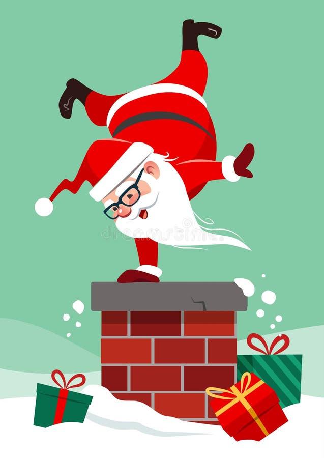 导航圣诞老人的动画片例证做h的房子屋顶的 库存例证