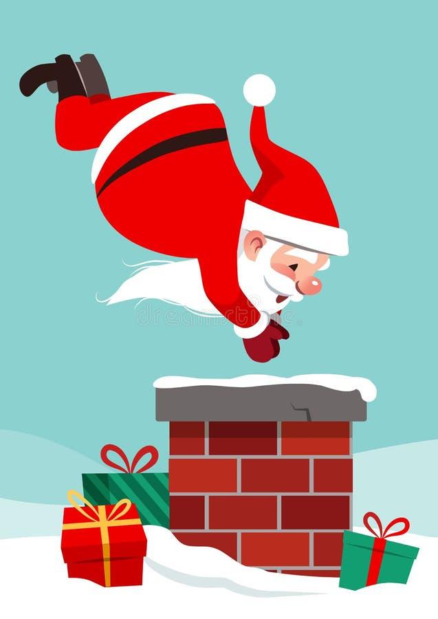 导航圣诞老人的漫画人物例证屋顶的  向量例证
